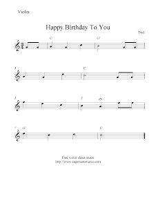 Free Printable Sheet Music: Happy Birthday To You, free violin sheet music not...