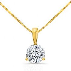 14K Yellow Gold 1 Carat Atia 81 Solitaire Pendant Wedding Day Diamonds