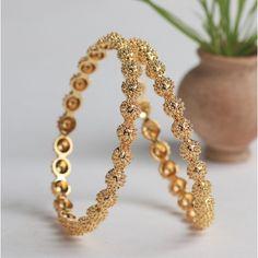 Flower Motif Bangles (Set of Two) Gold Bracelet For Girl, Gold Bracelet Indian, Silver Bangle Bracelets, Ruby Bangles, Baby Bracelet, Bridal Bracelet, Diamond Bracelets, Charm Bracelets, Indian Jewelry