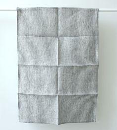 Fog Linen Tea Towel   Grey with Thin White Stripe