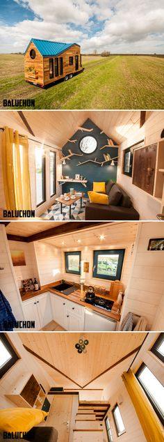 Ready to upsize from her caravan, Marie-Laure contacted Baluchon to build Essen'Ciel, complete with a stunning blue roof and full height windows.