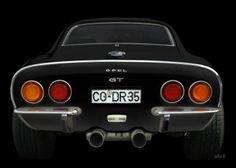 Opel GT in black & black rear view
