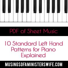Ten Standard Left Hand Patterns for Piano Explained PDF File