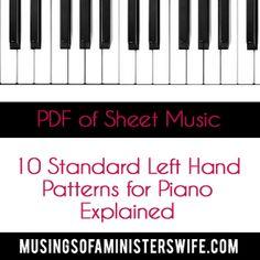 Ten Standard Left Hand Patterns for Piano Sheet Music
