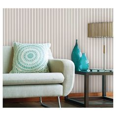 Easy peel and stick wallpaper rom Devine Color. Achieve the same look with Devine Color Wallpaper in Stripe - Sterling and Lightning (Metallic) available at Target. #impressyourself #devinecolor #target #wallpaper #diy