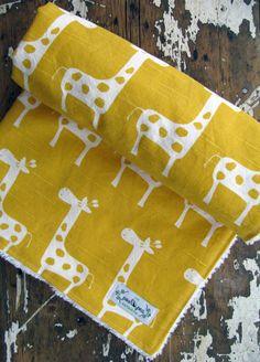 Yellow Baby Blanket - Yellow Giraffes - Gender Neutral Baby Boy or Girl - Chenille or Minky Blanket on Etsy, $35.00