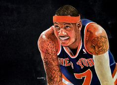 Carmelo Anthony - New York Knicks watercolor painting by Michael Pattison. #melo #carmeloanthony #knicks #nba #NYK #art