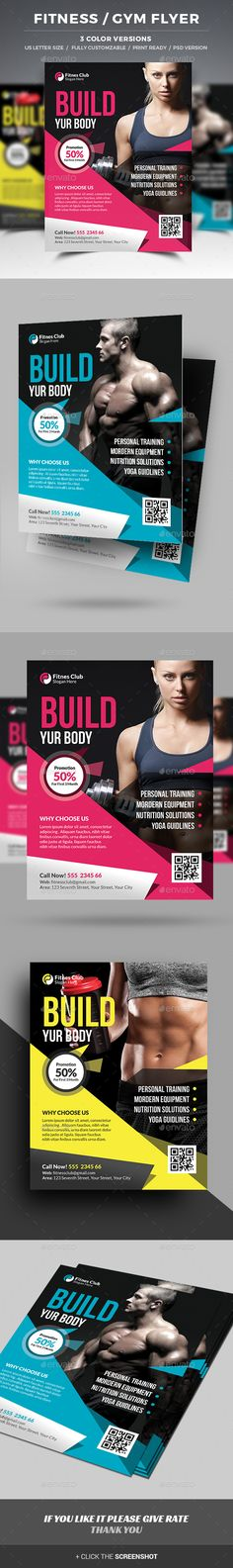 Fitness \/ GYM Roll-up Banner Rollup banner, Banner template and - Gym Brochure Templates