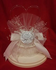 Wedding Cake Topper ~ Heart w/ rose and sprays of imitation pearls.