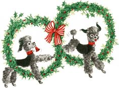 Super Cute Retro Christmas Dogs Image! | This charming image was scanned from my latest find, a fabulous Vintage Wrapping Paper Sample book! The book dates to Circa 1954, but does not appear to have ever held a copyright on it, as there is no copyright date in the book. Shown above are two adorable Poodles, jumping through Holly Wreaths!  A nice image for your Handmade Holiday Cards!