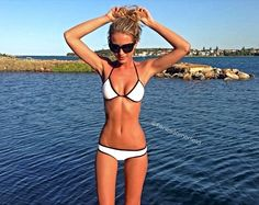 "Triangl swimwear…cute suit, too bad someone felt the need to ""slim down"" her legs - she would have been lovely."