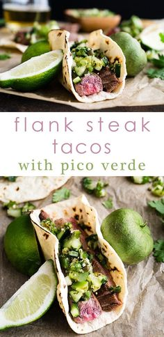 Flank Steak Tacos with Pico Verde   Margarita-marinated, medium rare flank steak with an irresistibly tangy and unique pico verde. Serve on charred corn tortillas. Gluten Free. via /midlifecroissnt/