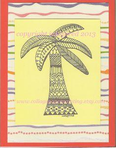 original zentangle design palm tree blank note card ooak by inkspired
