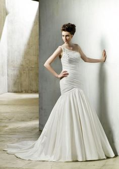 Fit & Flare One Shoulder Ruched Bodice Beaded Taffeta Wedding Dress-wf0030, $249.95