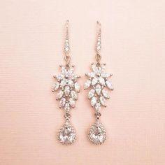 Rose Gold Earrings, Bridal Earrings, Vintage Earrings, Bridal Jewelry, Drop Earrings, Vintage Wedding Jewelry, Wedding Belts, Rhinestone Wedding, Crystal Wedding