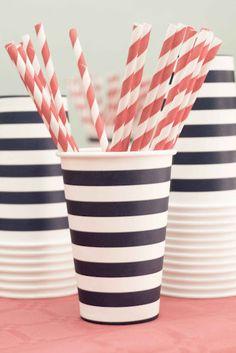 striped straws & cups