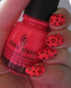 """China Glaze's """"Pool Party"""" over a white base, stamped with a design from Pueen Cosmetics' PUEEN 44."""