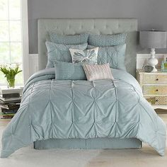 Bring a touch of understated luxury to your bedroom decor with the Whisper Comforter Set in Spa from Anthology. Featuring softly-hued colors, ruched patterns, and pintuck detailing, this beautiful bedding updates your space with a rich, lofty look. Spa Bedroom, Blue Bedroom, Master Bedroom, Bedroom Decor, Full Comforter Sets, Bedding Sets, King Comforter, Shabby Chic Comforter, Bed Bath & Beyond