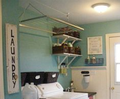 Metal hanging racks laundry room accessories and decor