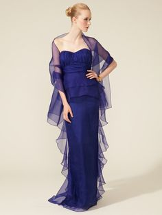 Silk Strapless Ruffle Gown by Badgley Mischka Collection on Gilt.com