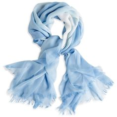 Chico's Faint Wash Scarf found on Polyvore featuring accessories, scarves, blue, blue scarves, ombre scarves, blue shawl, viscose scarves and fringe scarves