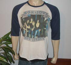 RARE 1988 89 Bon Jovi Vintage Rock Concert Tour 3 4 Jersey T Shirt L 1980s   eBay