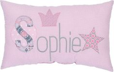 """crepes suzette – name pillow """"crown"""" pink – baby pillow toy Pink Pillows, Baby Pillows, Crepes, Crown, Toys, Wilde, Sewing Ideas, Cloths, Baby Shoes"""