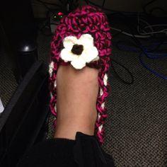 #crochet slipper. Broken leg toe warmer :)