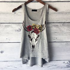 Bison Rose Skull Crop Tank Top for Women - Bison Cow Skull Shirt - Roses T Shirts - Cow Shirts - Crop Tops - Small, Medium, Large