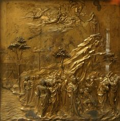 GHIBERTI, Moses and the ten commandments, PANLE 7 1425-52 Gilded bronze, 79 x 79 cm Baptistry, Florence