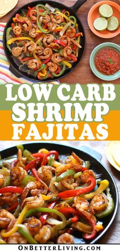 Shrimp Fajita recipes dont come easier than this plus they're and Colorful bell peppers onions and fresh shrimp are cooked quickly in a skillet and served with low carb tortillas! Your family will LOVE these! Shrimp Fajita Recipe, Shrimp Fajitas, Marinated Shrimp, Low Carb Recipes, Diet Recipes, Cooking Recipes, Healthy Recipes, Seafood Dishes, Clean Dinners