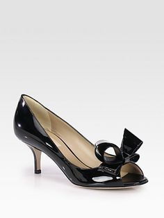 Couture Patent Leather Bow Pumps by Valentino