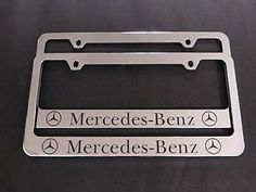 2 mercedes benz chrome metal license plate frame screw caps brand new