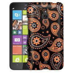 Nokia Lumia 1320 Paisleys Cute Orange on Black Slim Case