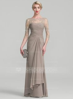 A-Line/Princess Scoop Neck Floor-Length Beading Sequins Cascading Ruffles Zipper Up Sleeves 1/2 Sleeves No Taupe General Plus Chiffon Lace Height:5.7ft Bust:33in Waist:24in Hips:34in US 2 / UK 6 / EU 32 Mother of the Bride Dress