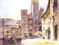 Beautiful watercolor painting of San Gimignano, by Michal Orlowski Watercolor Architecture, Watercolor Landscape, Art And Architecture, Watercolor Paintings, Watercolours, Traditional Paintings, Traditional Art, True Art, Watercolor Techniques