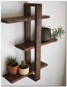 Modern Wall Shelf Solid Walnut for Hanging Plants Books Photos. Mid-century - Floor Plants - Ideas of Floor Plants - Modern Wall Shelf Solid Walnut for Hanging Plants Books Photos. Woodworking Projects Diy, Diy Wood Projects, Diy Wood Crafts, Salvaged Wood Projects, Woodworking Jointer, Wood Projects For Beginners, Reclaimed Wood Art, Diy Furniture Projects, Woodworking Machinery