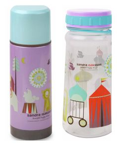 New circus pattern on the kids' lunch bottles from ISAK design studio.