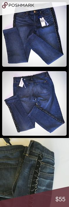 Bleecker Slouchy Skinny Juicy Couture Jeans New never worn Bleecker Slouchy Skinny Juicy Couture Jeans.  The decorative element down the outer seem of both legs are a metal chain on a black looped knit backing.  These are brand new from Juicy Couture Juicy Couture Jeans Skinny