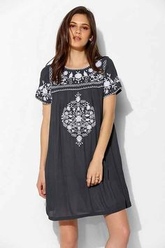 Little White Lies Embroidered Shift Dress: