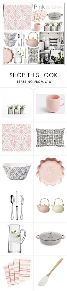 """""""Pink & Grey Kitchen"""" by linmari ❤ liked on Polyvore featuring interior, interiors, interior design, home, home decor, interior decorating, iittala, Orla Kiely, Lene Bjerre and Sagaform"""