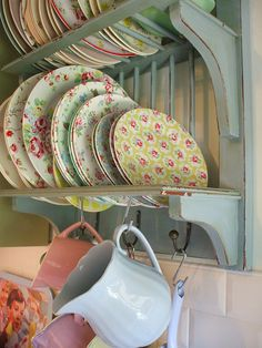 so my style! plate rack with cath Kidston and vintage plates I have this plate rack in white!  How can I use this in my sewing room or craft area?
