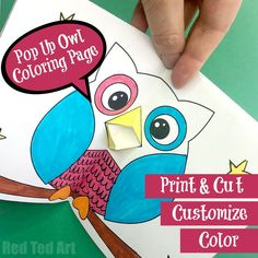 Red Ted Art's Pop Up Owl Card Coloring Page! A fun little printable - print, cut fold and you have a ready to give Owl Coloring Page Card!