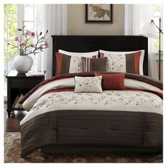 Monroe 7 Piece Comforter Set (Polyester w/ Embroidery