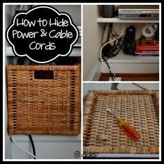 How to Hide Power and Cable Cords - Dogs Don't Eat Pizza boxes to hide cords How to Hide Power and Cable Cords - Dogs Don't Eat Pizza Hide Cable Cords, Hide Cable Box, Hide Wires, Hiding Cords, Hiding Cables, Dieter Rams, Electronics Projects, Electronics Storage, Cord Hider