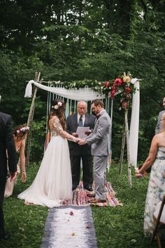 DIY bohemian wedding ceremony space | Image by The Colagrossis