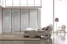 Composition M205 Sliding door mod. NABUCCO, silver frame with Damascus mirror board