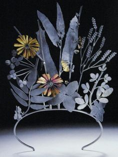 Invasive Species: American Tiara by Jan Yager (b. 1951)  Made in 2001 using oxidized sterling silver and gold