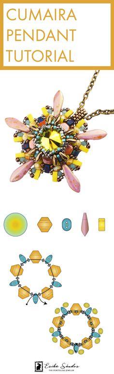 Beading tutorial / schema / instructions / pattern for beaded pendant / necklace. With Swarovski cabochon fancy stone rivoli jet ab, half tila, Miyuki beads, Japanese seed beads, Rizo, Honeycomb from Beadsmith, 2-hole beads, Superduo or Twin bead, 2-hole dagger. Design  by Erika Sandor The Storytelling Jeweller. Beadsmith Inspiration Squad.