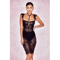 'Hermosa'  Black Lace Collar Dress with Briefs